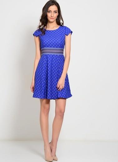 Darling Desenli Mini Kloş Elbise Gri